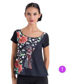 Camiseta Flamenco Happy Dance con escote abierto